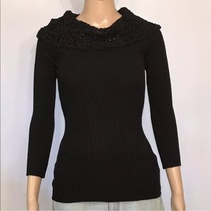 BCX Black Mesh Cowl Neck Ribbed Knit Sweater Top